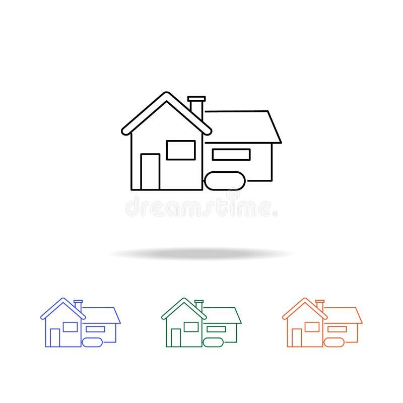 Renfermez le graphisme Éléments des immobiliers dans les icônes colorées multi Icône de la meilleure qualité de conception graphi illustration stock