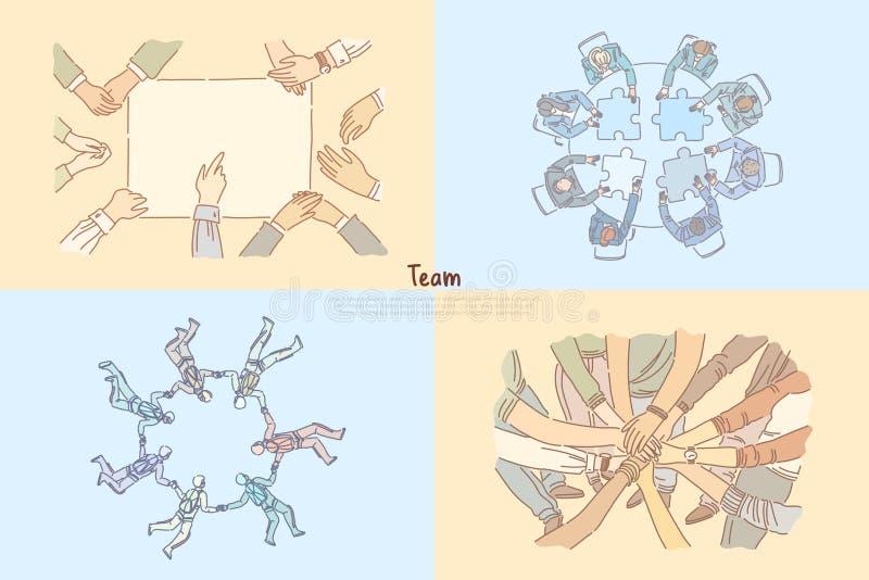 Renforcement d'équipe, associés coworking, remue méninge d'employés de bureau, faisant un saut en chute libre le calibre de banni illustration de vecteur