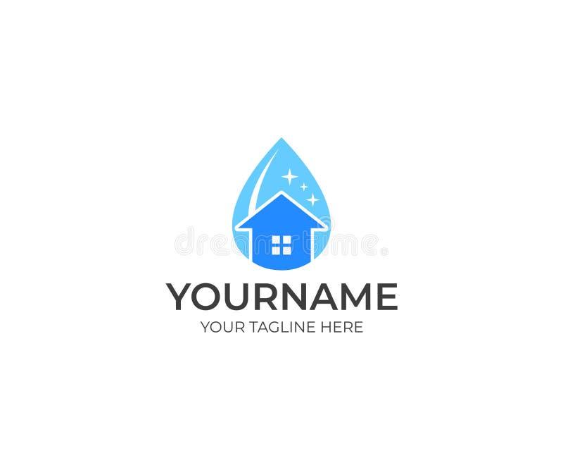 Rengöra och hus i en droppe av vattenlogomallen Rengörande tjänste- begreppsvektordesign stock illustrationer