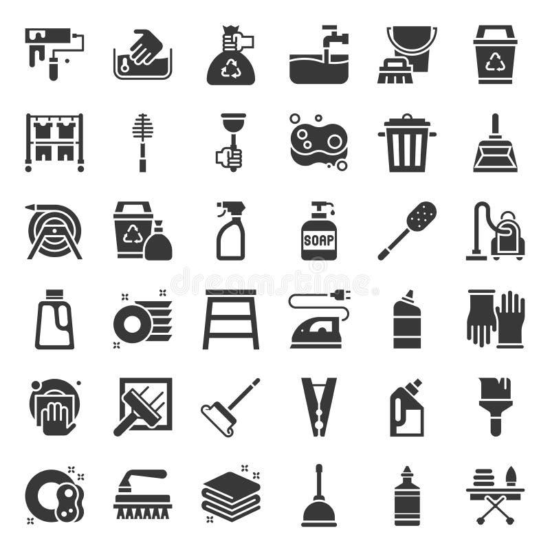 Rengöra och hus som håller den tjänste- symbolsuppsättningen, fast symbol royaltyfri illustrationer