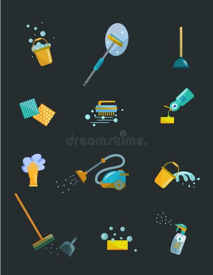 Rengörande färgrik symbolsuppsättning för hjälpmedel royaltyfri illustrationer