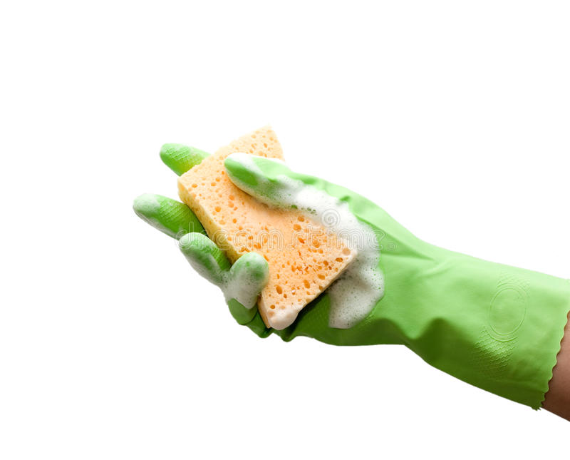 rengörande foamy svamp arkivfoto