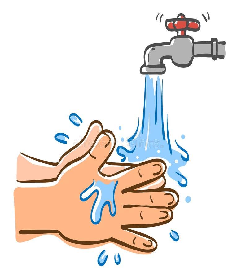 Rengörande händer med vatten vektor illustrationer