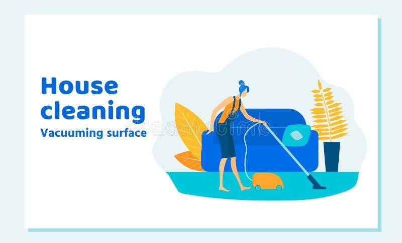 Rengörande hus för kvinnatecken på helg arbetsuppgiftar stock illustrationer