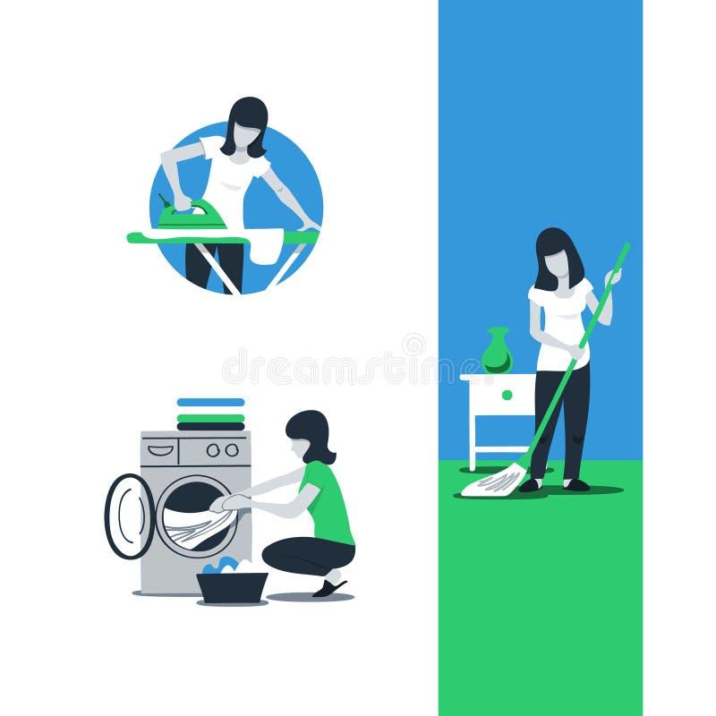 Rengörande husservice, kvinnastrykning stock illustrationer