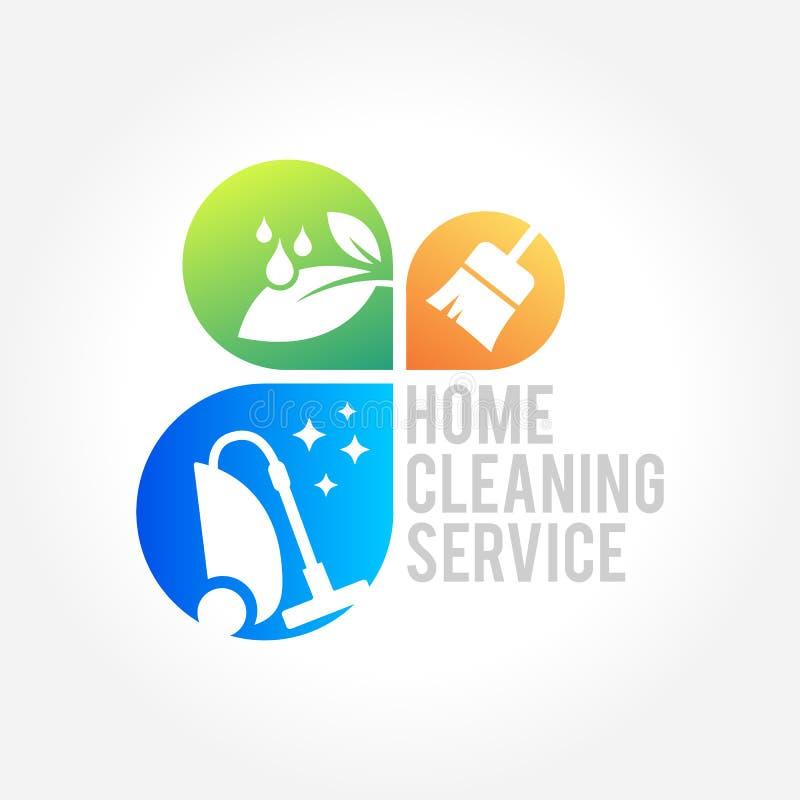 Rengörande logodesign för tjänste- affär, Eco vänligt begrepp för inre, hem och byggande royaltyfri illustrationer