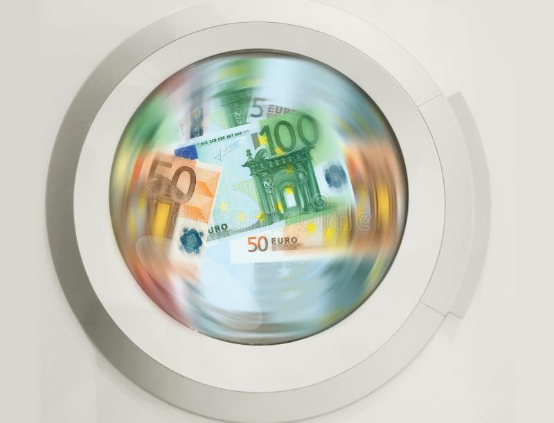 Rengörande massor för tvagningmaskin av eurosedlar - concptvisningpenningtvätten, smutsiga pengar, dolde timpenningar, lön svärta royaltyfri illustrationer