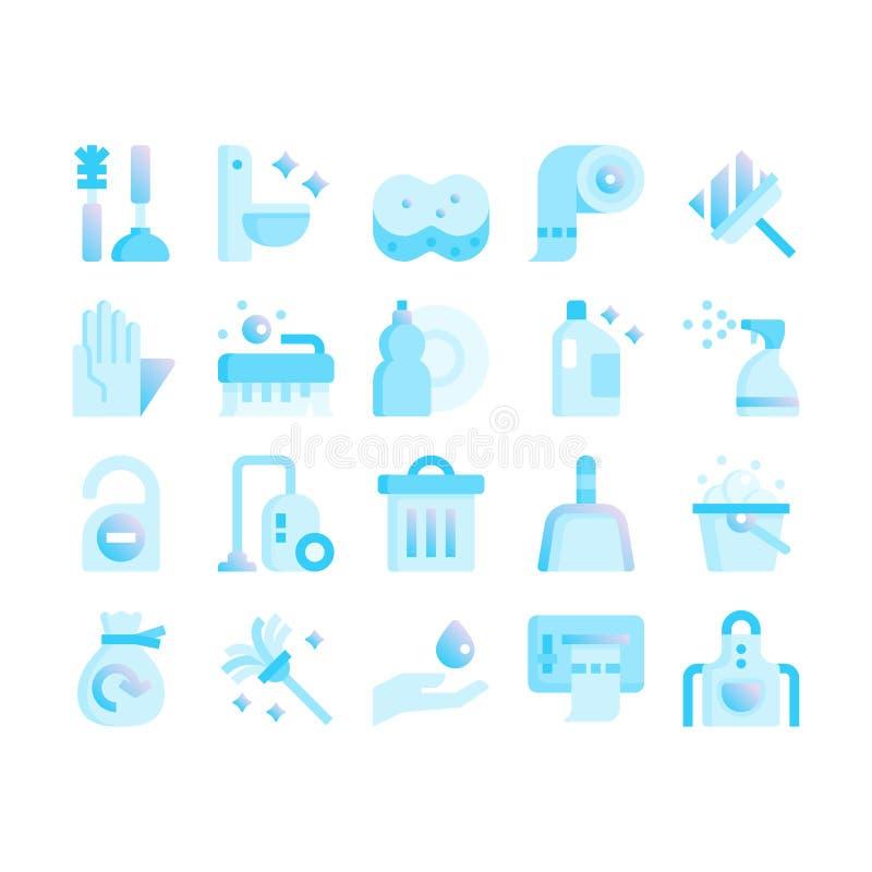 Rengörande plana symboler för lutning vektor illustrationer