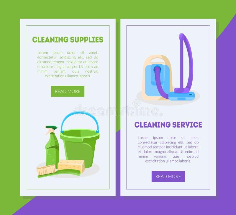 Rengörande service och uppsättning för mallar för tillförsellandningsida, yrkesmässigt hus eller kontorslokalvård, hjälpmedel för vektor illustrationer