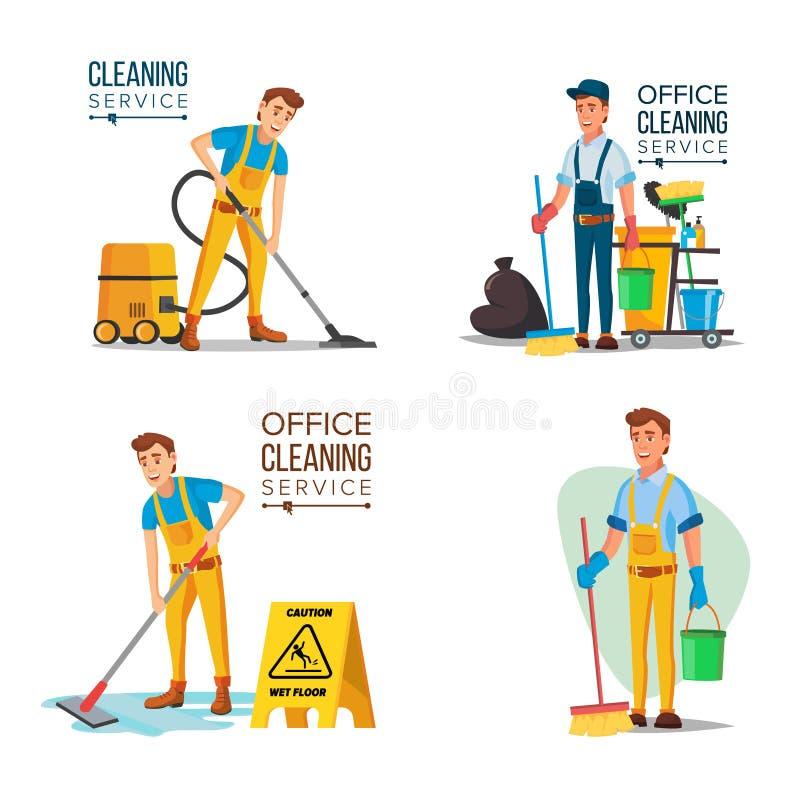 Rengörande servicearbetare för kontor med dammsugare stock illustrationer