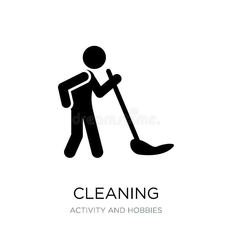 rengörande symbol i moderiktig designstil Lokalvårdsymbol som isoleras på vit bakgrund enkel och modern lägenhet för rengörande v stock illustrationer