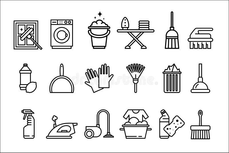 Rengörande symboler uppsättning, tvagningmaskin, strykning, handskar, svamp, golvmopp, dammsugare, skyffel och andra rengörande b royaltyfri illustrationer