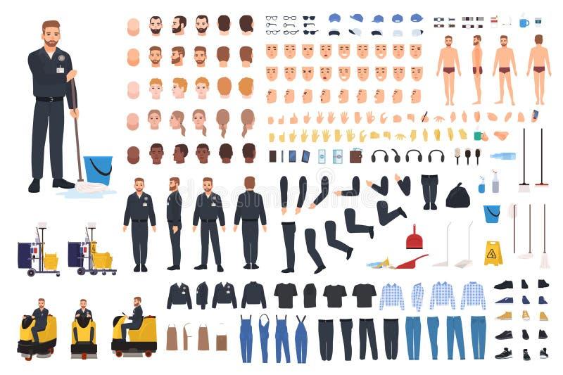 Rengörande tjänste- arbetarskapelseuppsättning eller konstruktör Packe av dörrvaktkroppsdelar, gester, likformig och kläder stock illustrationer