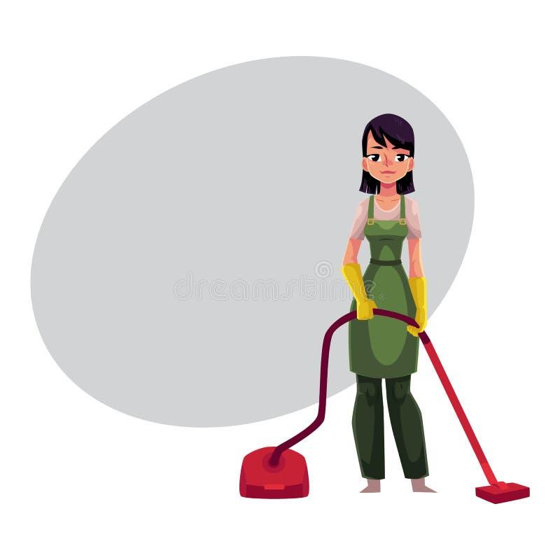 Rengörande tjänste- flicka, städhjälp i overaller som står med dammsugare stock illustrationer