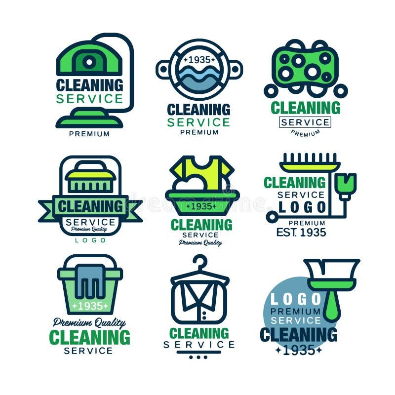 Rengörande tjänste- högvärdig kvalitets- logodesignuppsättning, hem vektor illustrationer