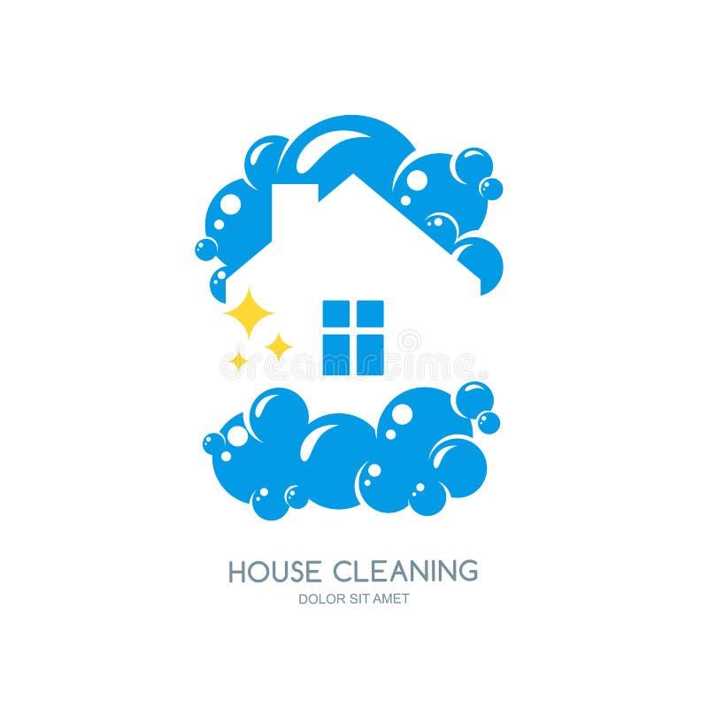 Rengörande tjänste- logo-, emblem- eller symbolsdesignmall Rent hus isolerad illustration stock illustrationer