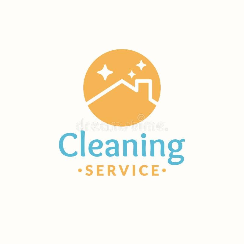 Rengörande tjänste- logo Tak av huset i den orange cirkeln royaltyfri illustrationer