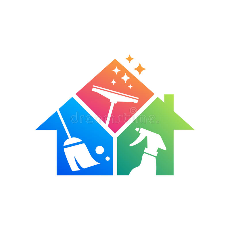 Rengörande tjänste- logodesignidé Idérik Eco symbolmall Byggande och hus royaltyfri illustrationer
