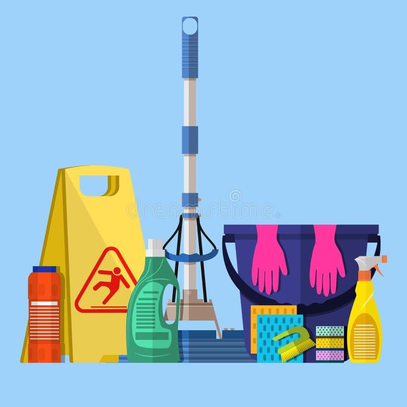 Rengörande uppsättning GOLVMOPP svamp, blå plast- hink stock illustrationer