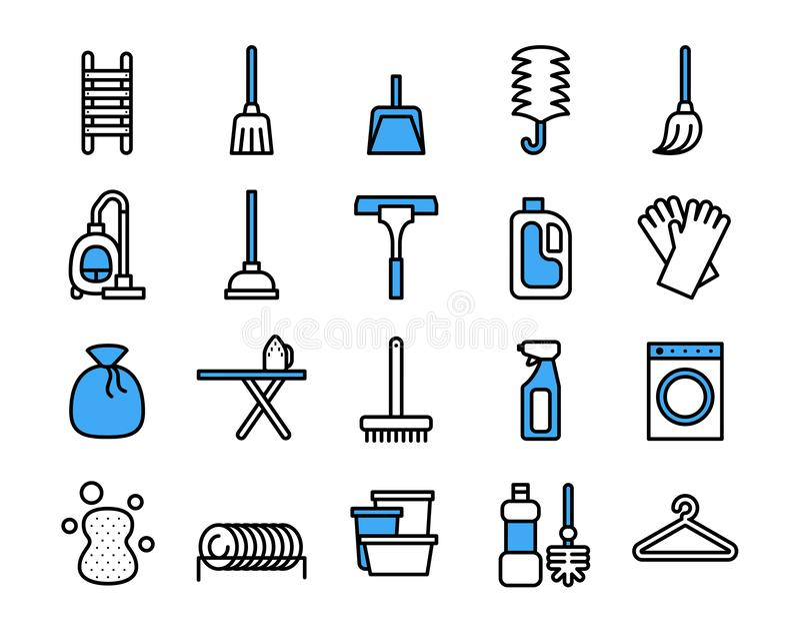 Rengörande utrustningsymbolsuppsättning Tunn linje stil f?r vektor royaltyfri illustrationer