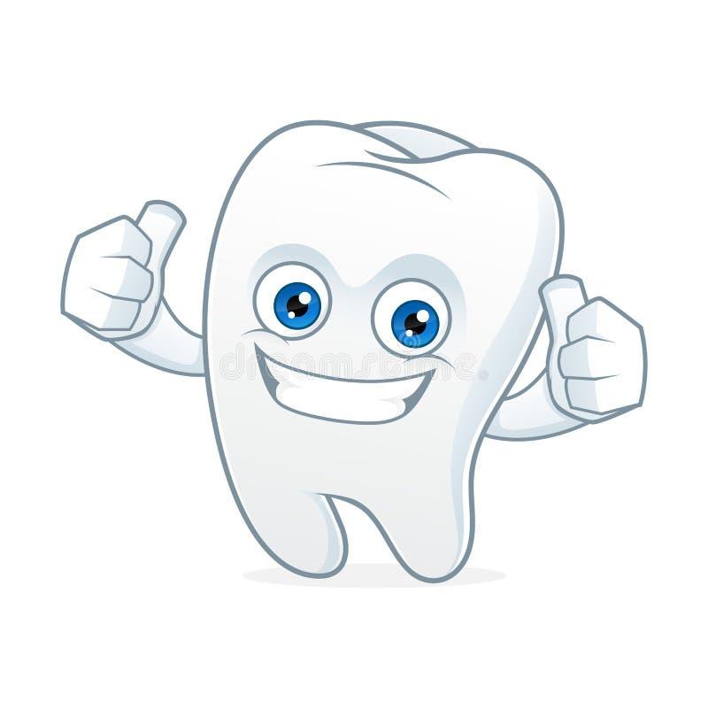 Rengöring för tandtecknad filmmaskot och lyckligt royaltyfri illustrationer