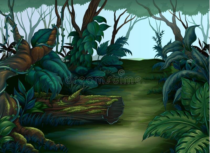 Rengöring- och gräsplanskog royaltyfri illustrationer