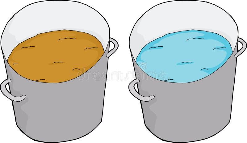 Rengöringen och smutsar ner vatten vektor illustrationer
