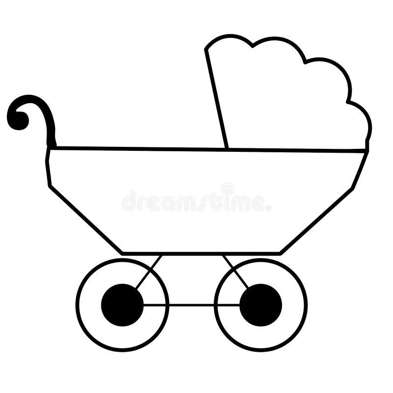 Rengöringsduk Barnvagnsittvagn Plan designstilsymbol Rosa babys pram Barntransport Vektorillustration för uthärdat kort för barn` vektor illustrationer