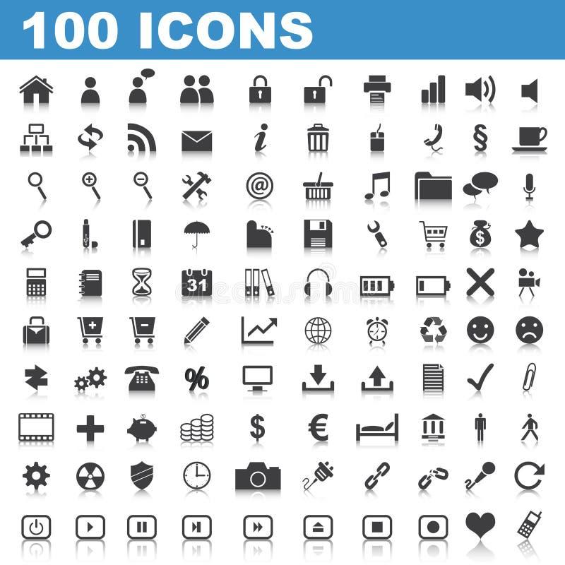 rengöringsduk för 100 symboler stock illustrationer
