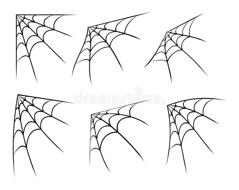 Rengöringsduk för allhelgonaaftonhörnspindel, spindelnätsymbol, symbolsuppsättning white för vektor för bakgrundsillustrationhaj royaltyfri illustrationer