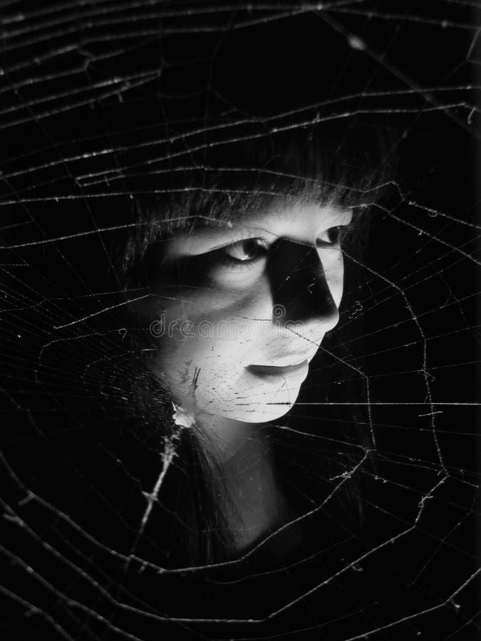 Rengöringsduk för flickaspöke- och spindel` s royaltyfria foton