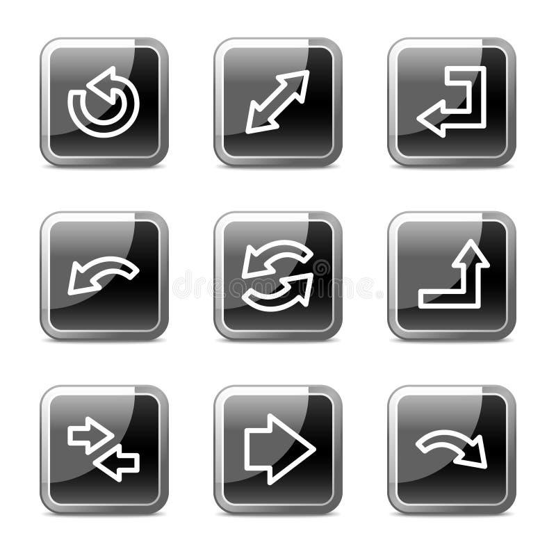 rengöringsduk för fyrkant för serie för symboler för pilknappar glansig stock illustrationer
