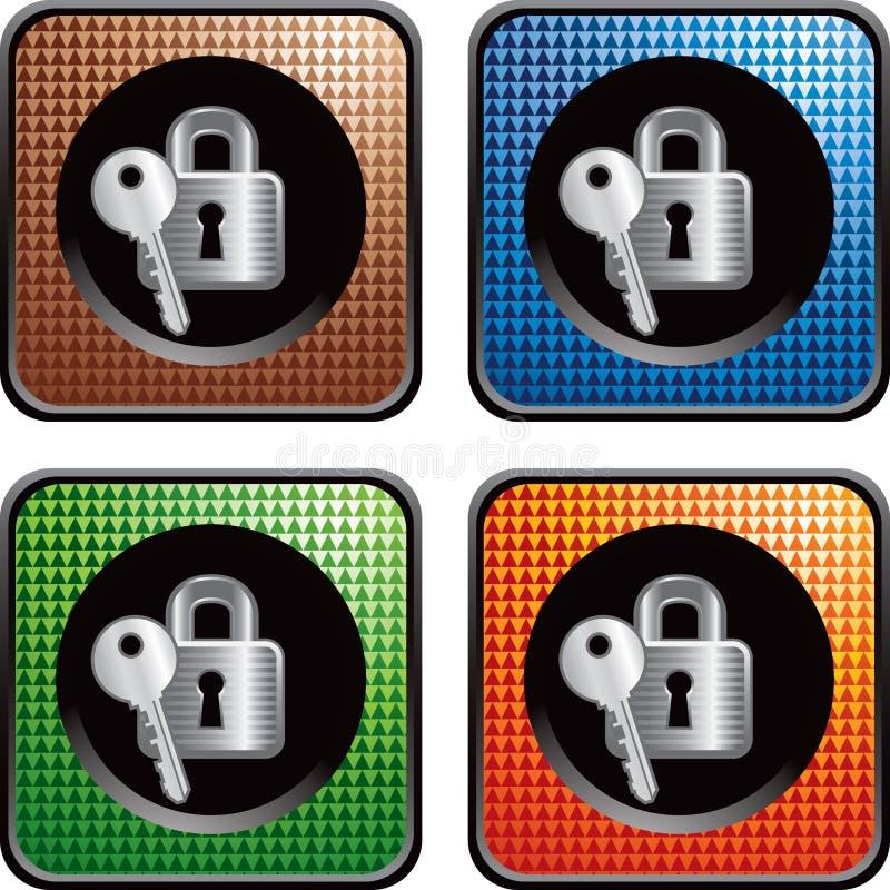 rengöringsduk för key lås för knappar mångfärgad vektor illustrationer