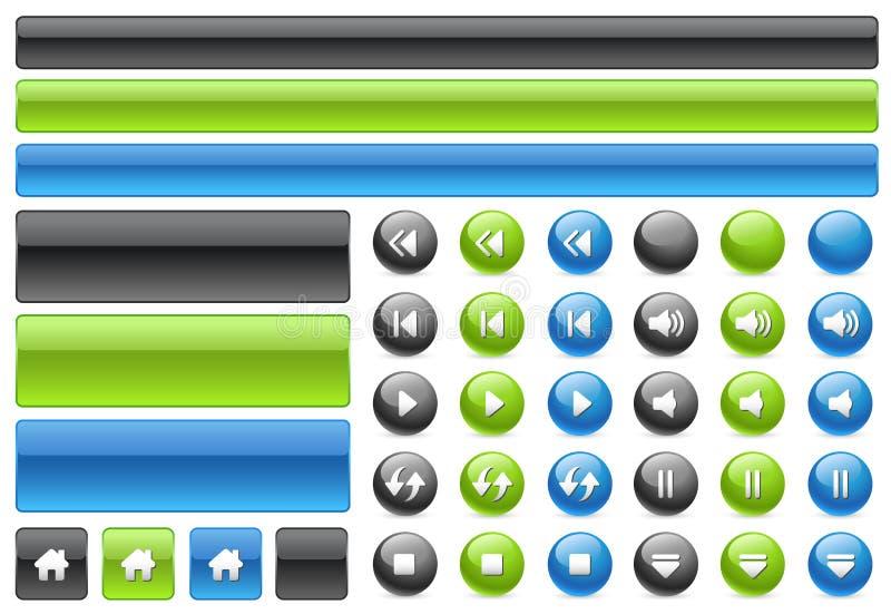 rengöringsduk för musik för symboler för knappkontrollgel stock illustrationer