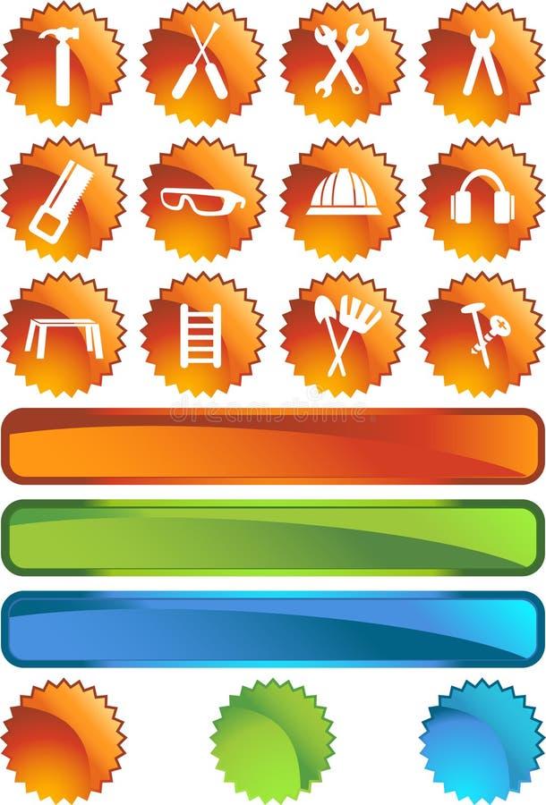 rengöringsduk för serie för skyddsremsa för knappmaskinvarusymbol set stock illustrationer