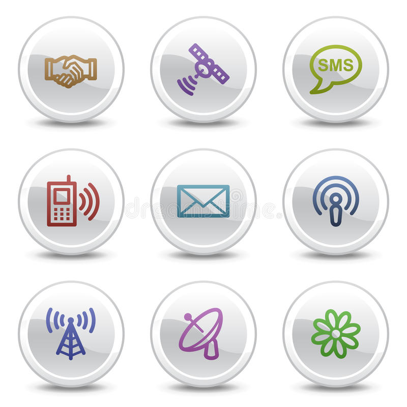 rengöringsduk för symboler för kommunikation för knappcirkelfärg royaltyfri illustrationer