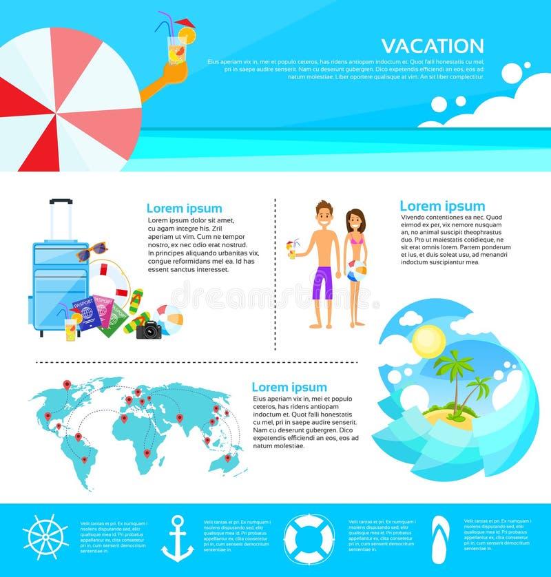 Rengöringsduk Infographic för turism för strandsommarsemester royaltyfri illustrationer