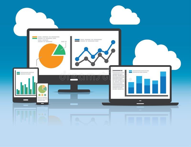 Rengöringsduk och SEO-analyticsbegrepp - illustration stock illustrationer