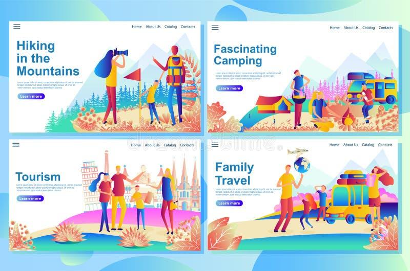 Rengöringsduk som landar sidadesignmallen för familjloppturism som campar stock illustrationer