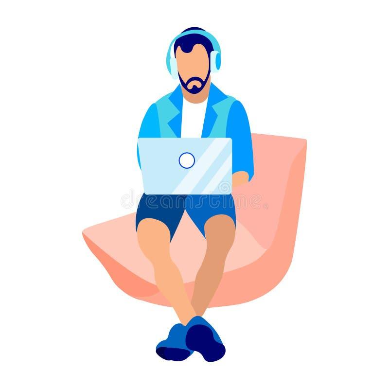 Rengöringsdukbärare, programmerare Flat Vector Illustration royaltyfri illustrationer