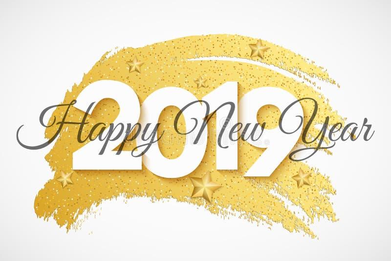 Rengöringsdukbaner 2019 för lyckligt nytt år nummer 3d Baner i grungestil Stjärnor, klubbor och slingrande för jul guld- Lyxig fe stock illustrationer