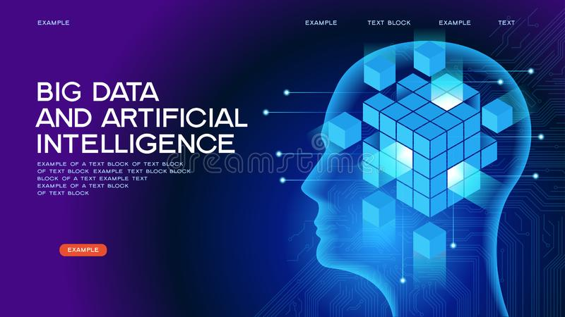 Rengöringsdukbaner för stora data OCH för konstgjord intelligens royaltyfri illustrationer