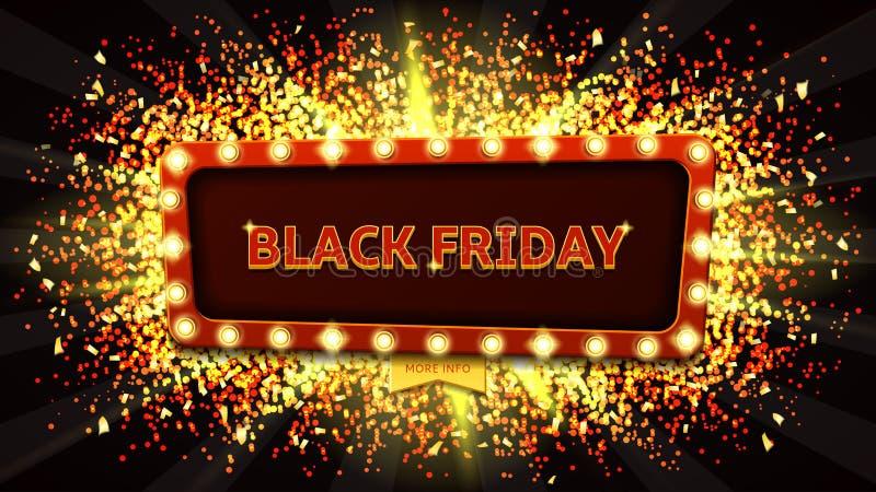 Rengöringsdukbaner med glödande lampor för svarta fredag stock illustrationer