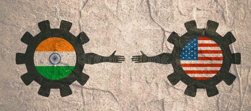 Rengöringsdukbaner, titelradorienteringsmall Klokt och ekonomiskt förhållande mellan Indien och USA royaltyfri illustrationer