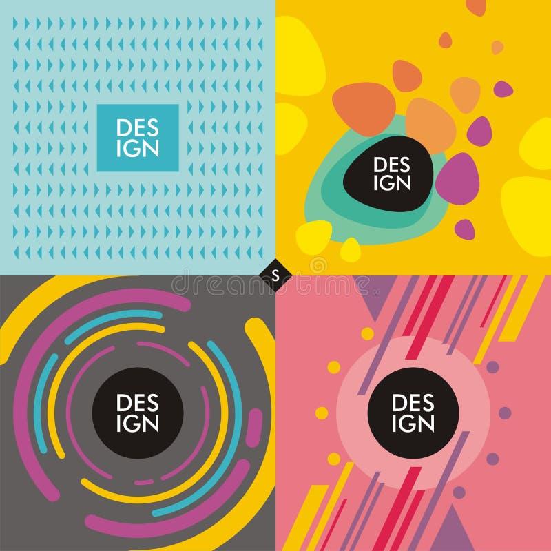 Rengöringsdukbanerbakgrunder med moderiktiga färgrika former vektor illustrationer