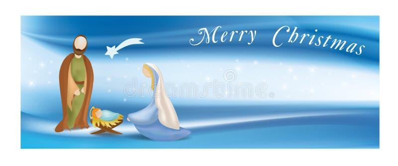 Rengöringsdukbanerjulkrubban med den heliga familjen - Jesus - Mary - Joseph - smsa glad jul - på elegant blå bakgrund vektor illustrationer