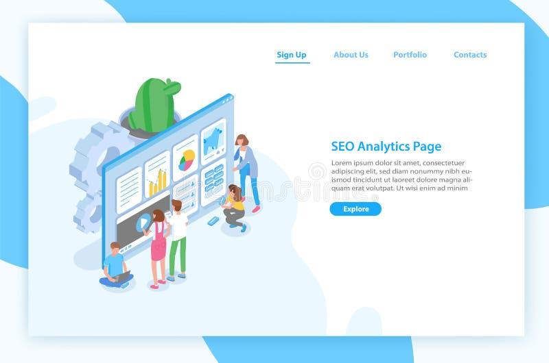Rengöringsdukbanermall med folk som framme står av den jätte- datoren och den optimerande websiten för sökandemotorer SEO vektor illustrationer