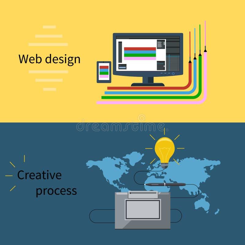 Rengöringsdukdesign och idérikt processbegrepp stock illustrationer