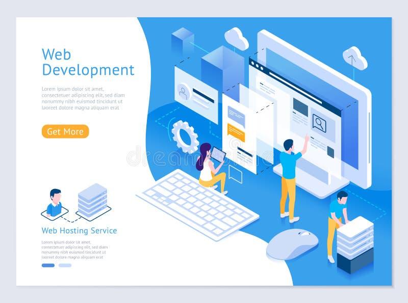Rengöringsdukdesign och isometriska illustrationer för utveckling stock illustrationer