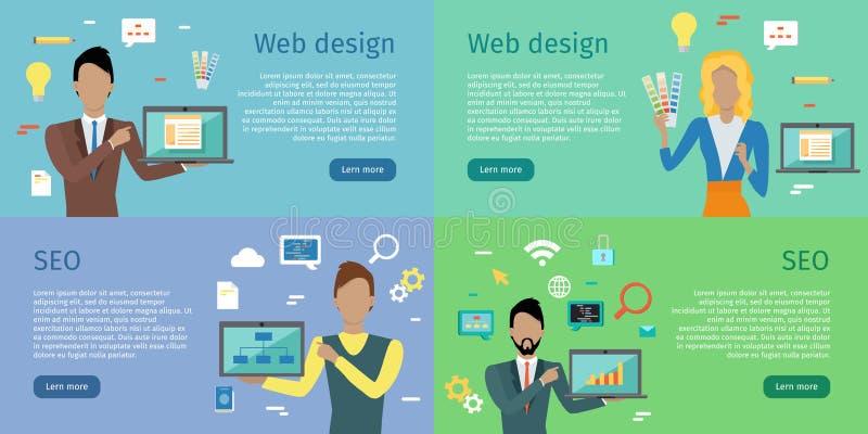 Rengöringsdukdesign, SEO Infographic Set royaltyfri illustrationer